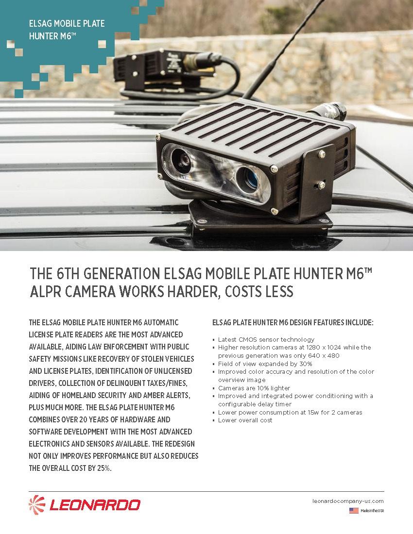 ELSAG M6™ Mobile ALPR System Sell Sheet 2018