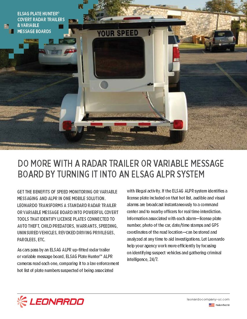 ELSAG Plate Hunter<sup>®</sup> Covert Radar Trailers &amp; Variable Message Board Sell Sheet 2018