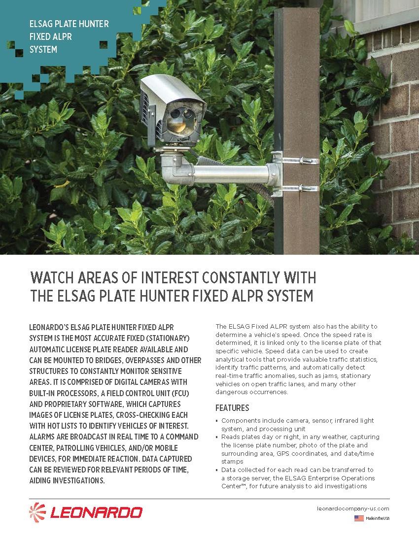 ELSAG F2™ Fixed ALPR System Sell Sheet 2018