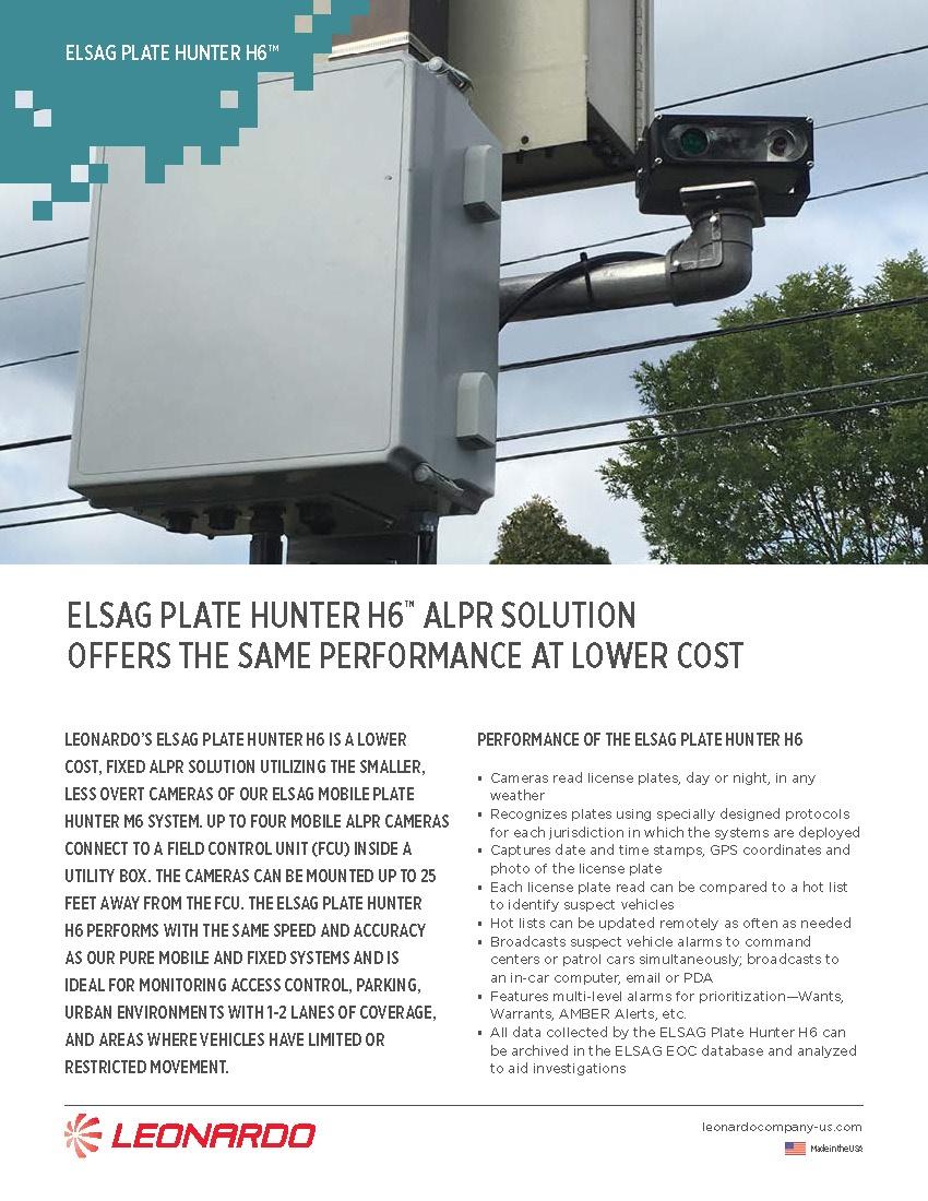 ELSAG Plate Hunter H6™ ALPR Solution Sell Sheet 2018
